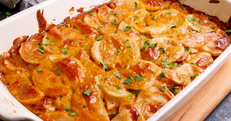 Garlic Kraut Mustard Kielbasa and Potato Casserole